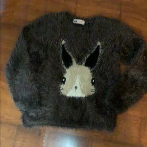 H&M Furry Grey rabbit sweater